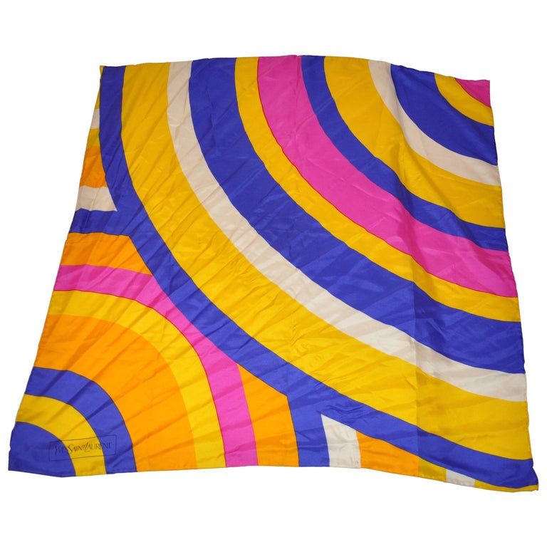 "Yves Saint Laurent Signature ""Rainbow of Colors"" Silk Scarf For Sale"