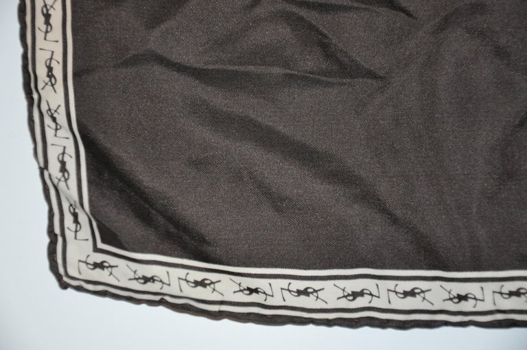 Yves Saint Laurent Signature YSL Logo Black Silk Handkerchief In Good Condition For Sale In New York, NY