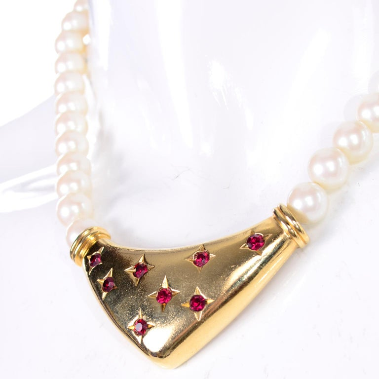 Women's Yves Saint Laurent Signed YSL Vintage Pearls Gold Tone Bib Necklace w Red Stones For Sale
