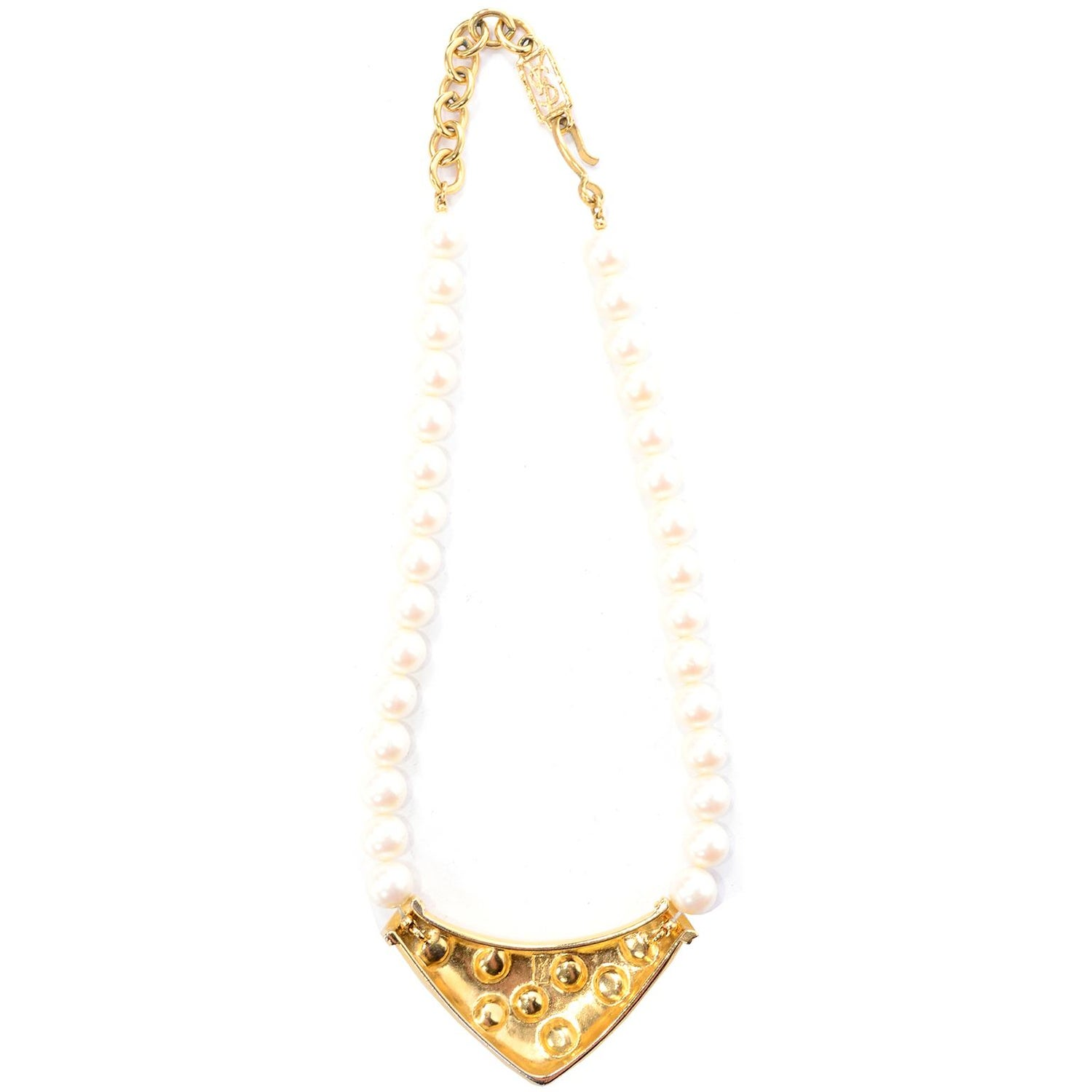 479efc811aa Yves Saint Laurent Signed YSL Vintage Pearls Gold Tone Bib Necklace w Red  Stones For Sale at 1stdibs