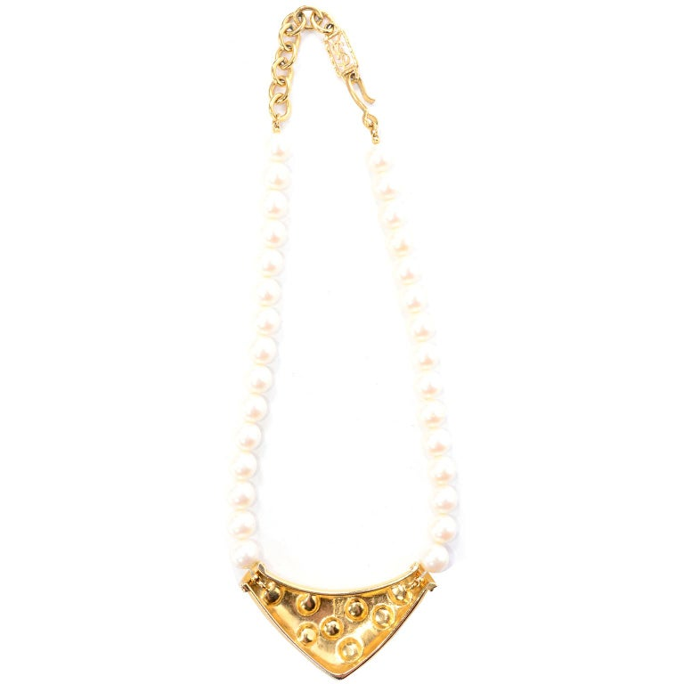 Yves Saint Laurent Signed YSL Vintage Pearls Gold Tone Bib Necklace w Red Stones For Sale 2