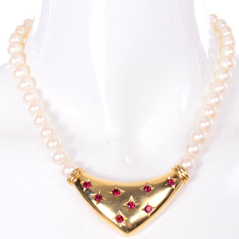 Yves Saint Laurent Signed YSL Vintage Pearls Gold Tone Bib Necklace w Red Stones For Sale 3