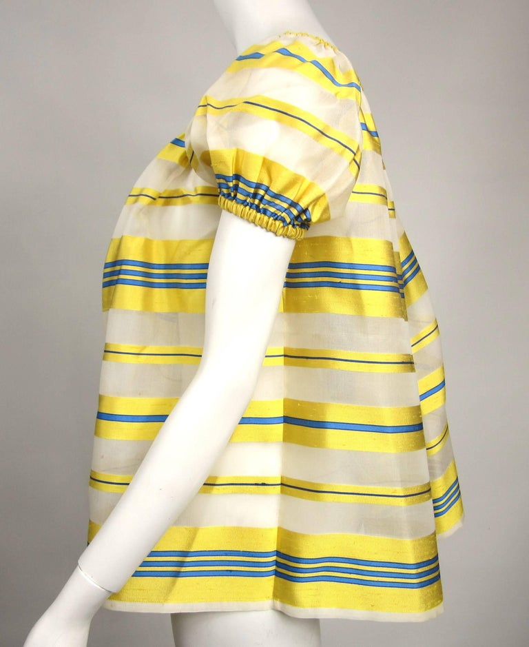 Yves Saint Laurent Silk Dupioni Over Sized Yellow Striped Blouse 1990s In Good Condition For Sale In Wallkill, NY