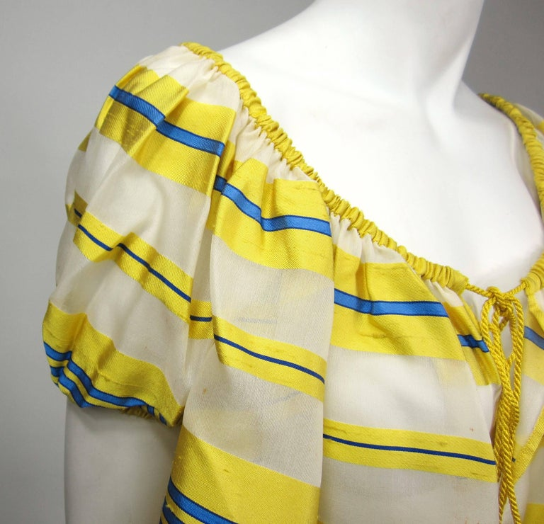 Women's Yves Saint Laurent Silk Dupioni Over Sized Yellow Striped Blouse 1990s For Sale
