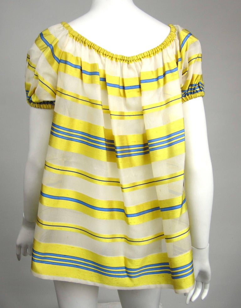 Yves Saint Laurent Silk Dupioni Over Sized Yellow Striped Blouse 1990s For Sale 1