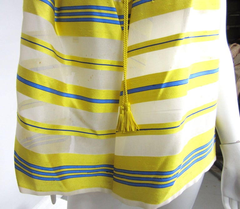 Yves Saint Laurent Silk Dupioni Over Sized Yellow Striped Blouse 1990s For Sale 2