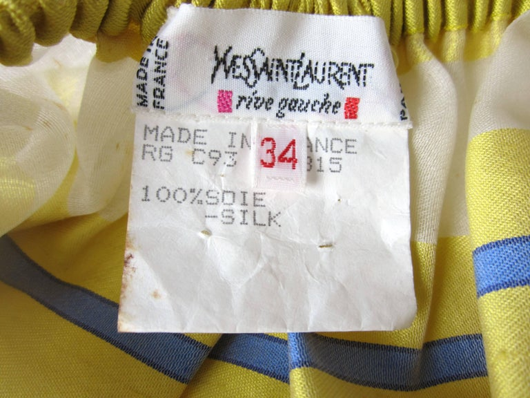 Yves Saint Laurent Silk Dupioni Over Sized Yellow Striped Blouse 1990s For Sale 4