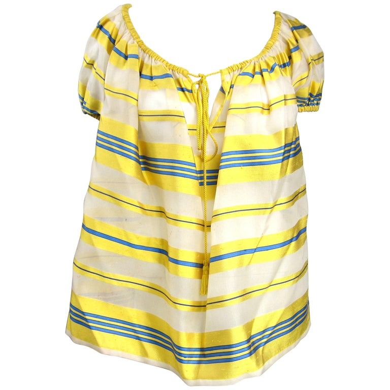 Yves Saint Laurent Silk Dupioni Over Sized Yellow Striped Blouse 1990s For Sale