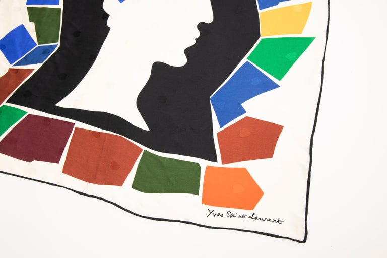 Black Yves Saint Laurent Silk Jacquard Love Print Scarf, Circa: 1985 For Sale