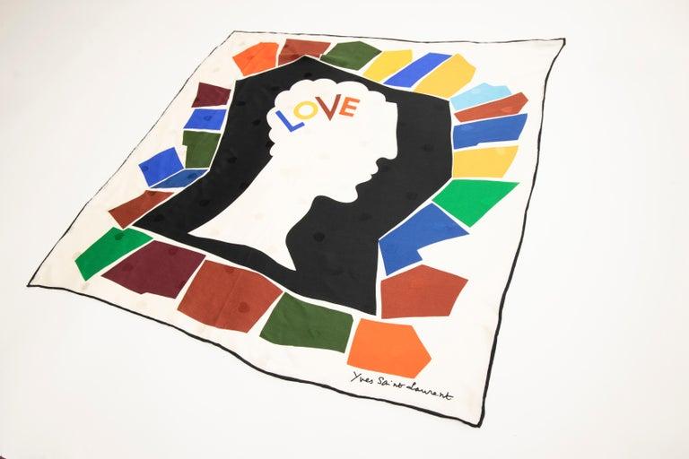 Women's Yves Saint Laurent Silk Jacquard Love Print Scarf, Circa: 1985 For Sale