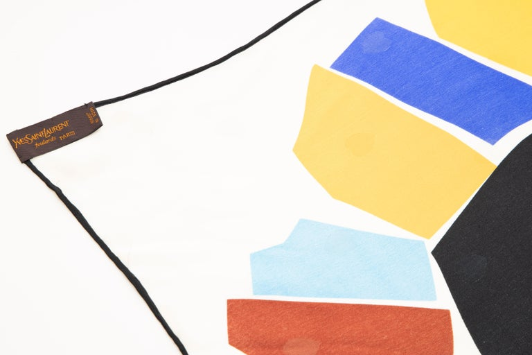 Yves Saint Laurent Silk Jacquard Love Print Scarf, Circa: 1985 For Sale 4