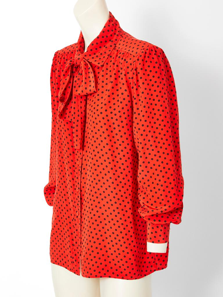 Yves Saint Laurent Silk Polka Dot Lavaliere Blouse In Good Condition For Sale In New York, NY