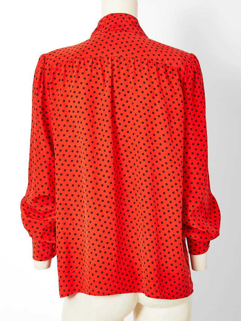 Yves Saint Laurent Silk Polka Dot Lavaliere Blouse In Good Condition In New York, NY