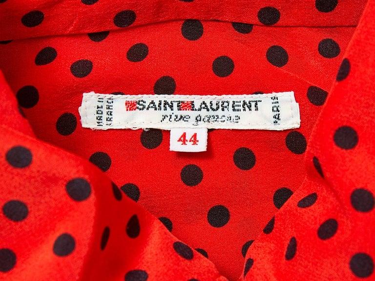 Women's Yves Saint Laurent Silk Polka Dot Lavaliere Blouse