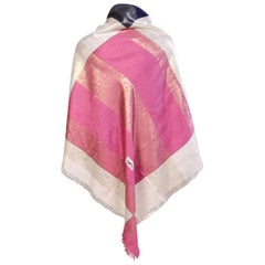 Yves Saint Laurent Silk Shawl, Woven Metallic Rose, Navy & Cream Never Worn