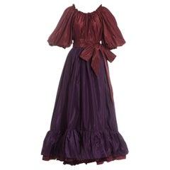 Yves Saint Laurent silk taffeta plum ruffled evening dress, ss 1978