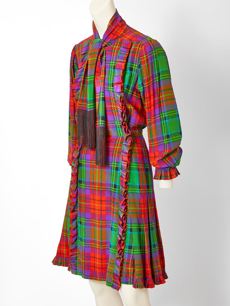 Yves Saint Laurent Silk Tartan Plaid Day Ensemble In Good Condition For Sale In New York, NY