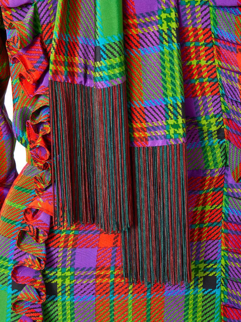 Yves Saint Laurent Silk Tartan Plaid Day Ensemble For Sale 2