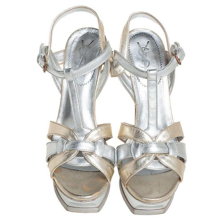 Gray Yves Saint Laurent Silver/Gold Leather Platform Ankle Strap Sandals Size 39 For Sale