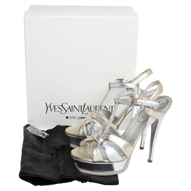 Yves Saint Laurent Silver/Gold Leather Platform Ankle Strap Sandals Size 39 For Sale 1