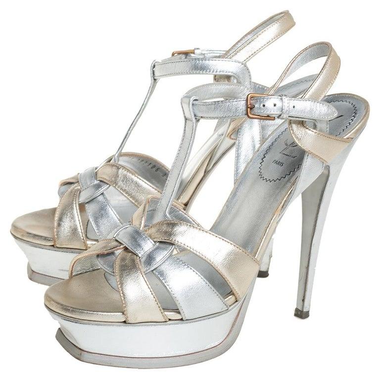 Yves Saint Laurent Silver/Gold Leather Platform Ankle Strap Sandals Size 39 For Sale 3