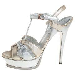 Yves Saint Laurent Silver/Gold Leather Platform Ankle Strap Sandals Size 39