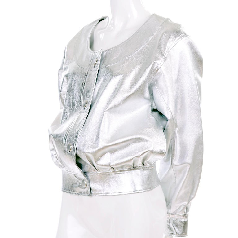 Yves Saint Laurent Silver Leather YSL Vintage Jacket In Excellent Condition For Sale In Portland, OR