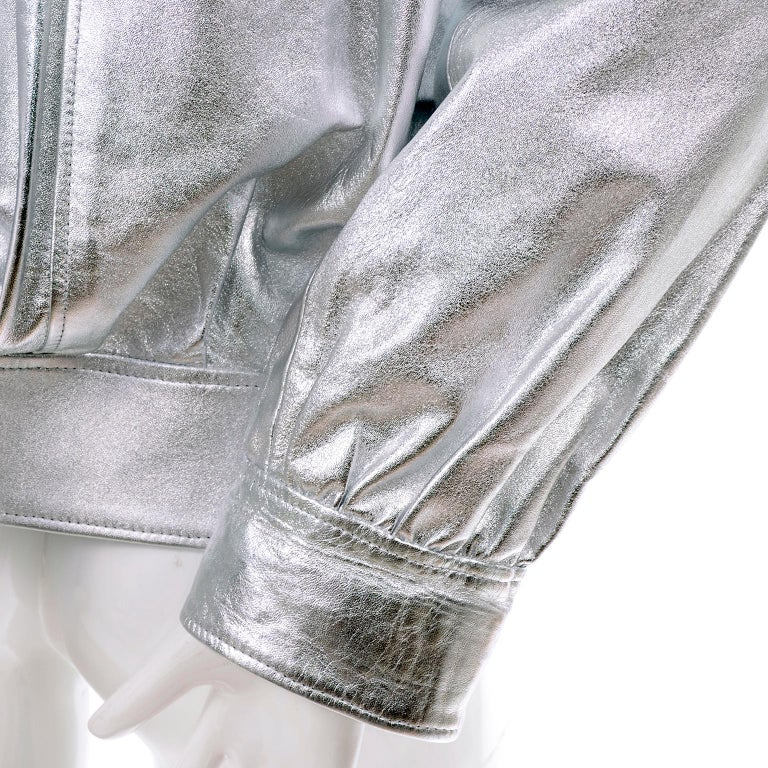Women's Yves Saint Laurent Silver Leather YSL Vintage Jacket For Sale