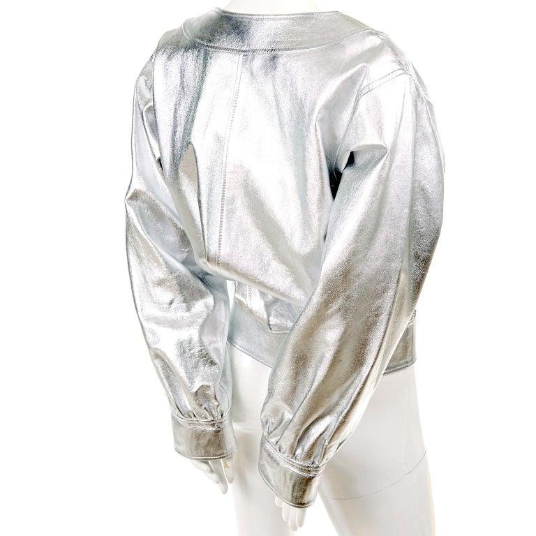 Yves Saint Laurent Silver Leather YSL Vintage Jacket For Sale 1