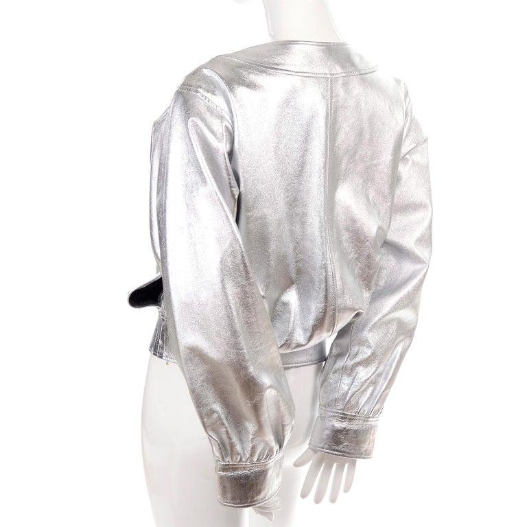Yves Saint Laurent Silver Leather YSL Vintage Jacket For Sale 3