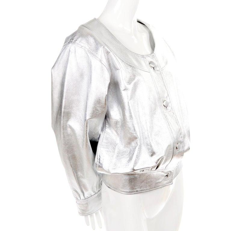 Yves Saint Laurent Silver Leather YSL Vintage Jacket For Sale 4