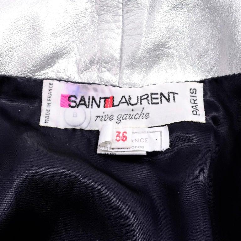 Yves Saint Laurent Silver Leather YSL Vintage Jacket For Sale 5