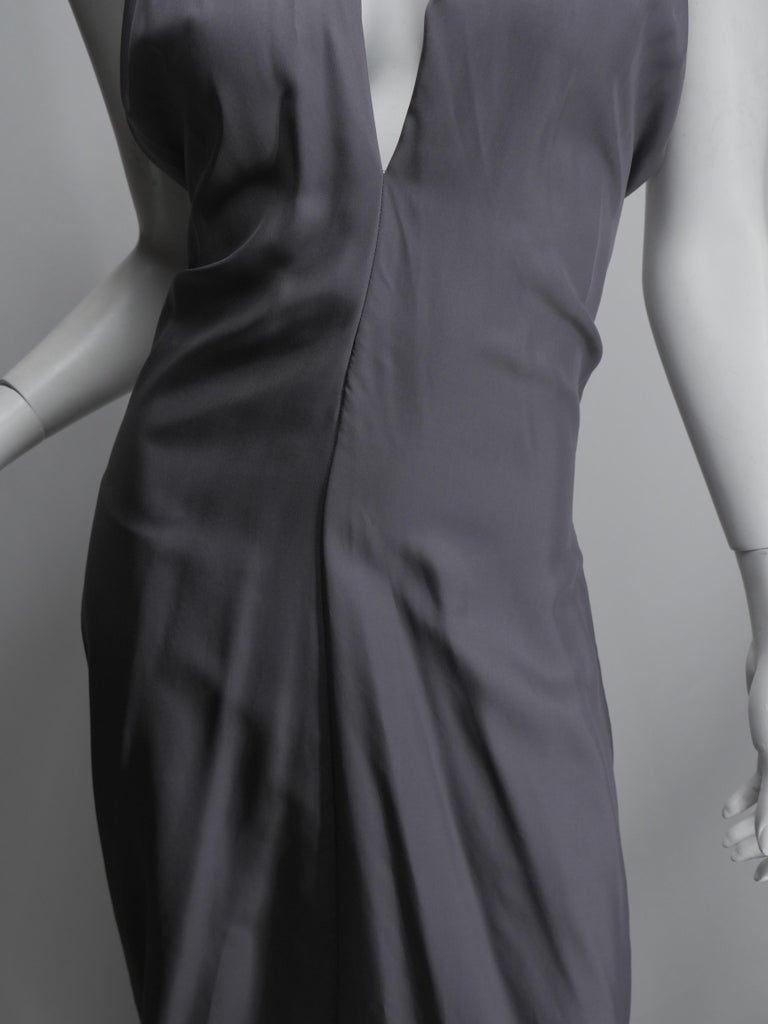 Yves Saint Laurent Silver Silk Halter Dress In Good Condition For Sale In Southampton, NY