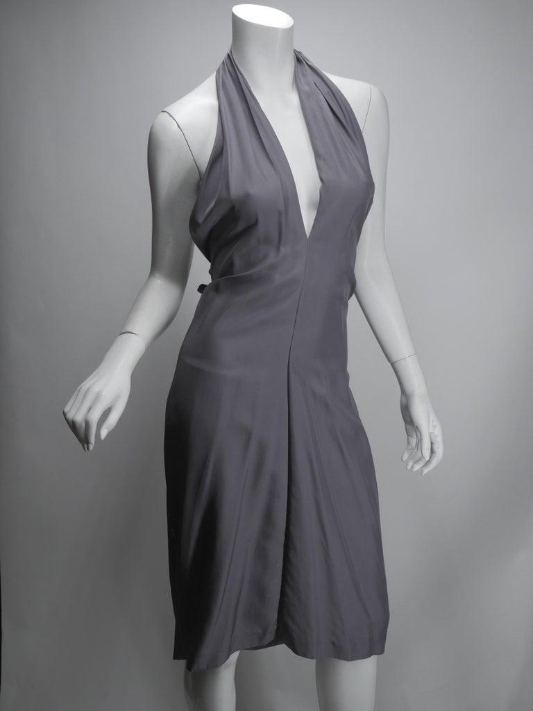 Yves Saint Laurent Silver Silk Halter Dress For Sale 1