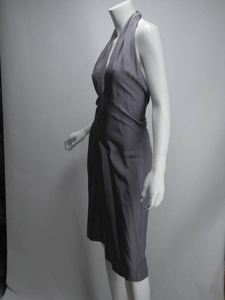 Yves Saint Laurent Silver Silk Halter Dress For Sale 2