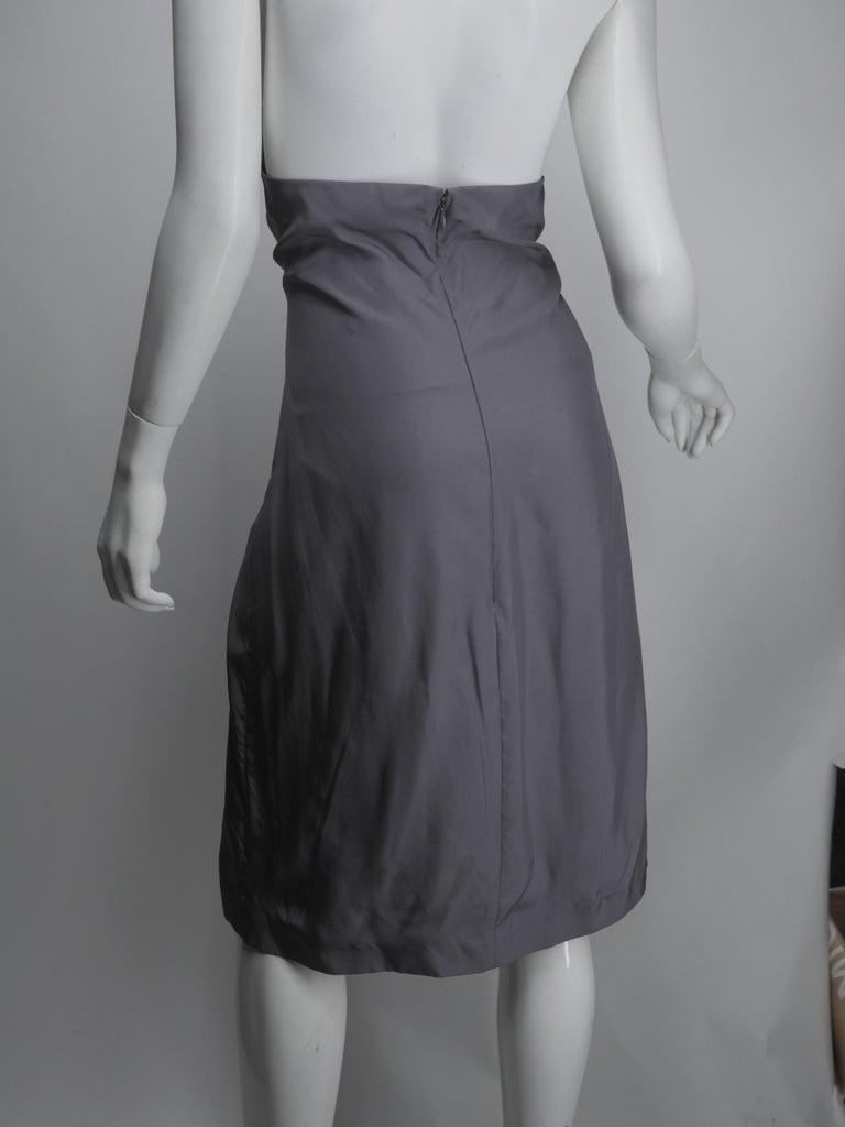 Yves Saint Laurent Silver Silk Halter Dress For Sale 3