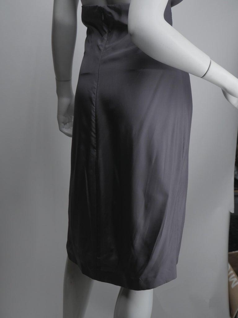Yves Saint Laurent Silver Silk Halter Dress For Sale 4