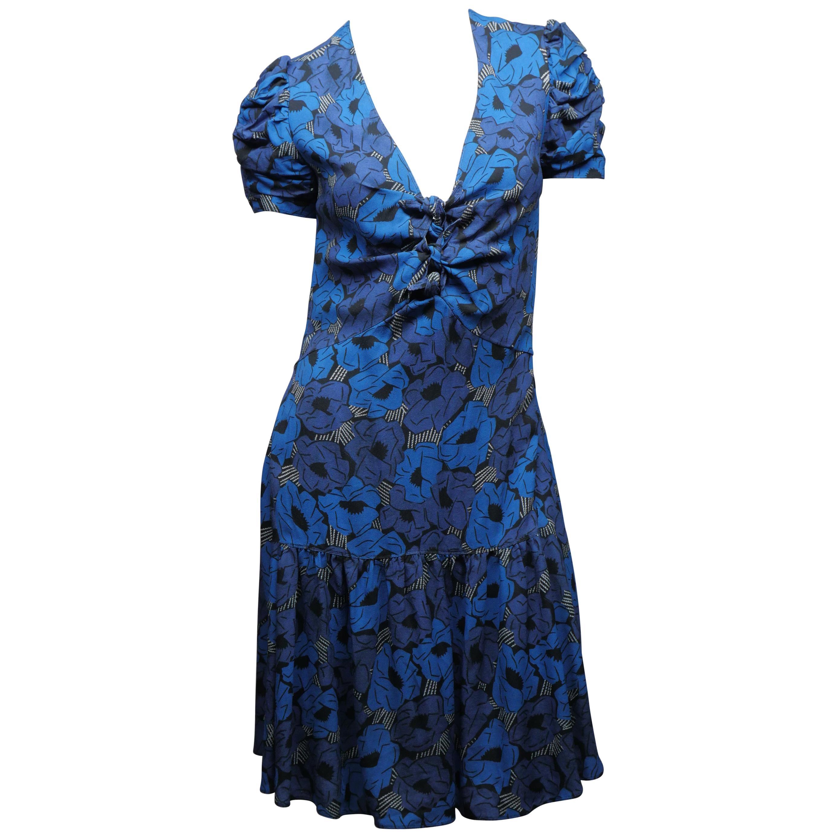 Yves Saint Laurent Size 38 Blue Floral Dress