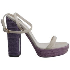 Yves Saint Laurent Size 38 White/ Purple Gipsy Espadrille