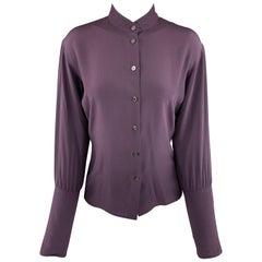 YVES SAINT LAURENT Size 4 Purple Silk Band Collar Long Cuff Blouse