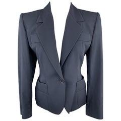 YVES SAINT LAURENT Size 6 Navy Virgin Wool Cropped Sport Jacket
