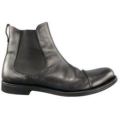 YVES SAINT LAURENT Size 9 Black Leather Toe Cap Chelsea Boots