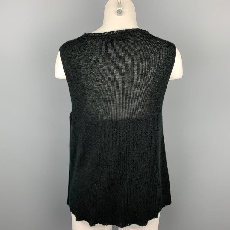 YVES SAINT LAURENT Size L Black Knitted Cashmere Tank Top In Good Condition For Sale In San Francisco, CA