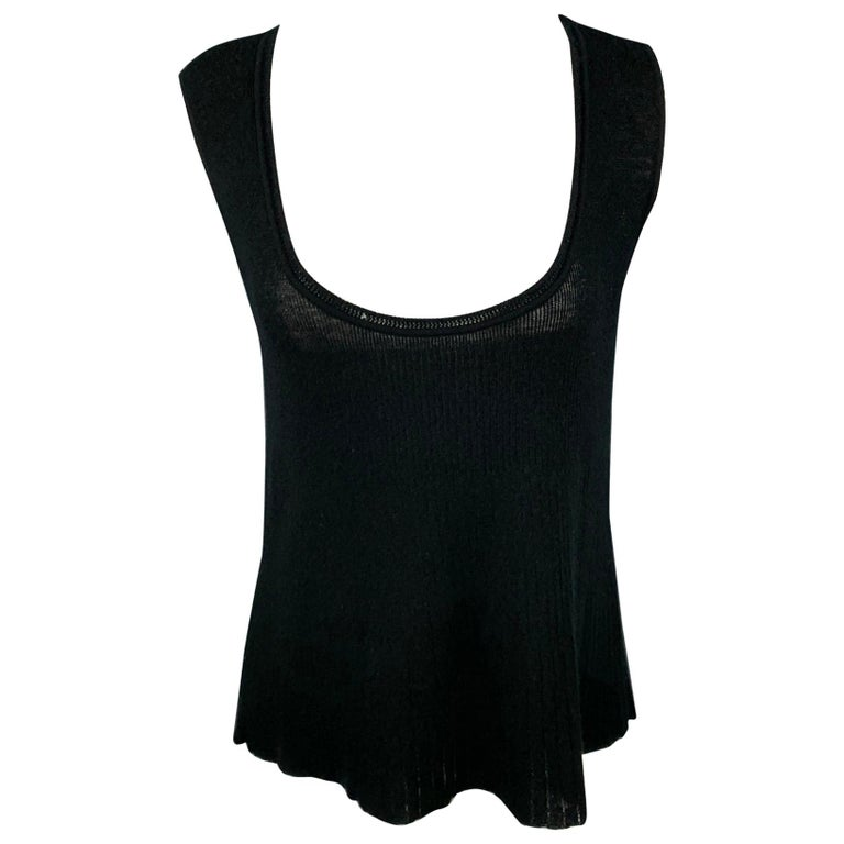 YVES SAINT LAURENT Size L Black Knitted Cashmere Tank Top For Sale