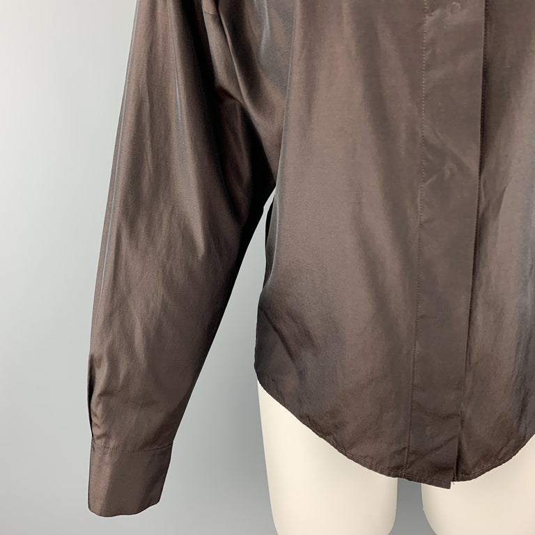 YVES SAINT LAURENT Size M Brown Taffeta Hidden Placket Blouse In Excellent Condition For Sale In San Francisco, CA