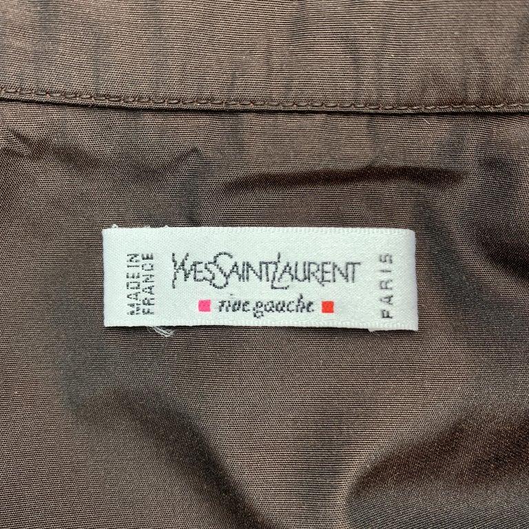YVES SAINT LAURENT Size M Brown Taffeta Hidden Placket Blouse For Sale 1