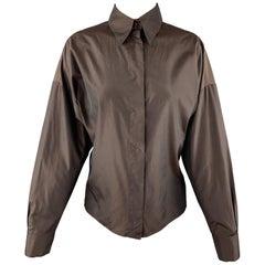 YVES SAINT LAURENT Size M Brown Taffeta Hidden Placket Blouse