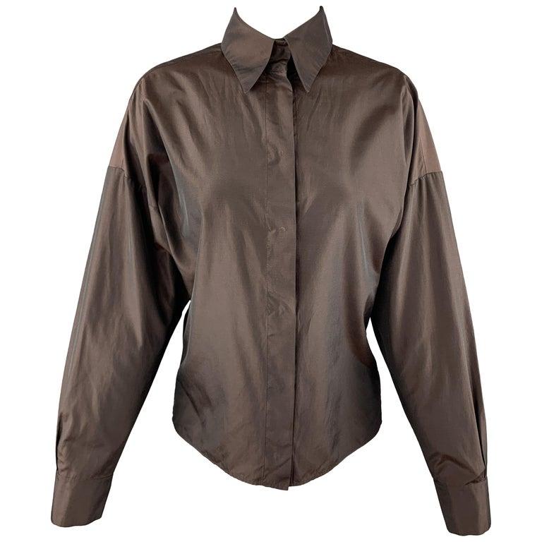 YVES SAINT LAURENT Size M Brown Taffeta Hidden Placket Blouse For Sale