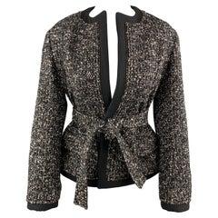YVES SAINT LAURENT Size S Black Tweed Ziper Trim Collarless Jacket