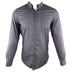 YVES SAINT LAURENT Size S Gray & Navy Plaid Cotton Button Down Patch Pocket Long